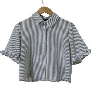 Sweet Rain Striped Crop Blouse Button Up Pearl Sm